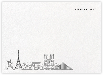 Paris Skyline View (Stationery) - White/Black - Paperless Post - Stationery