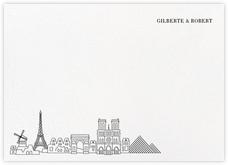 Paris Skyline View (Stationery) - White/Black