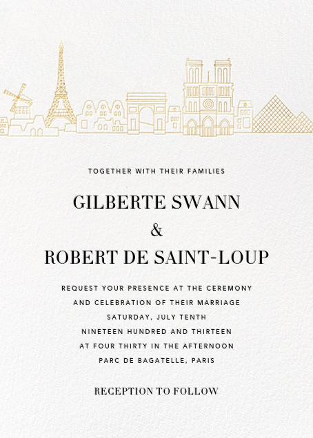 Paris Skyline View (Invitation) - White/Gold - Paperless Post -