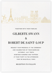 Paris Skyline View (Invitation) - White/Gold
