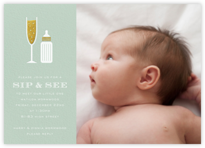 Sip & See (Photo) - Mint - Paperless Post - Baby Shower Invitations