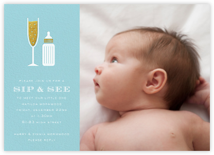 Sip & See (Photo) - Light Blue - Paperless Post - Sip and see invitations