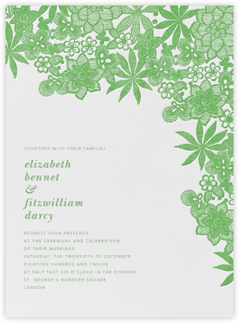 Floral Guipure - Spring Green - Oscar de la Renta - Wedding Invitations