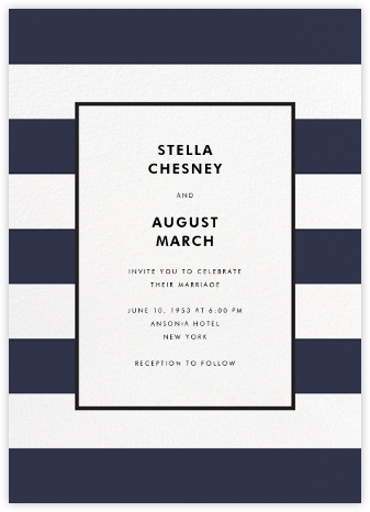 Stripe Suite (Invitation) - Navy - kate spade new york - Kate Spade invitations, save the dates, and cards