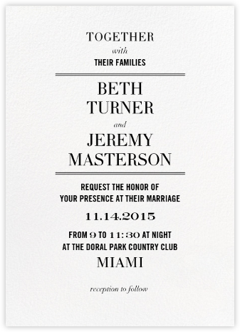Typographic II (Invitation) - White - kate spade new york - Modern wedding invitations