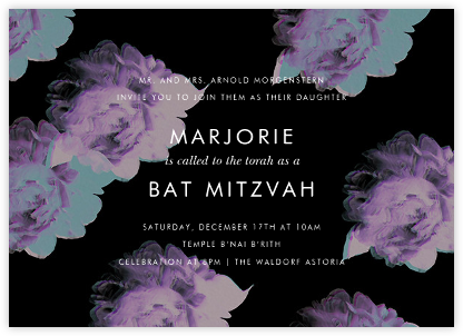 Garden Glitch - Black - Paperless Post - Bat and Bar Mitzvah Invitations