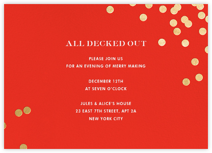 Confetti - Red/Gold - kate spade new york - Winter Party Invitations