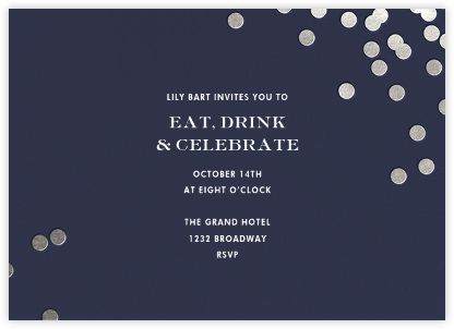 Confetti - Navy/Silver - kate spade new york - Dinner party invitations
