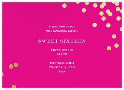 Confetti - Bright Pink/Gold - kate spade new york - Sweet 16 invitations