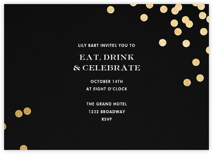 Confetti - Black/Gold - kate spade new york - Business event invitations
