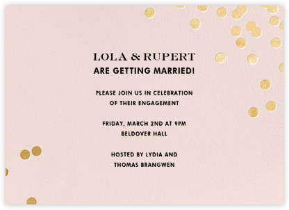 Confetti - Blush/Gold - kate spade new york - Engagement party invitations