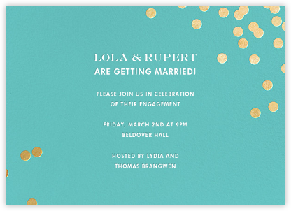 Confetti - Aqua/Gold - kate spade new york - Engagement party invitations