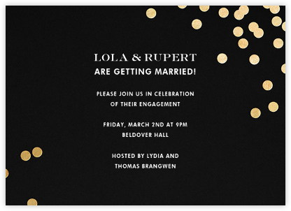Confetti - Black/Gold - kate spade new york - Engagement party invitations