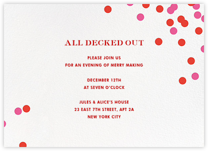 Confetti - Ivory/Red - kate spade new york - Winter Party Invitations