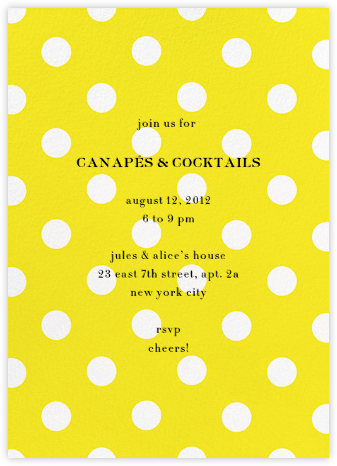 Evergreen Dots - Yellow - kate spade new york - Online Party Invitations