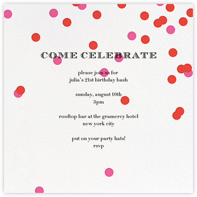 Come Celebrate - Ivory/Red - kate spade new york - Adult Birthday Invitations