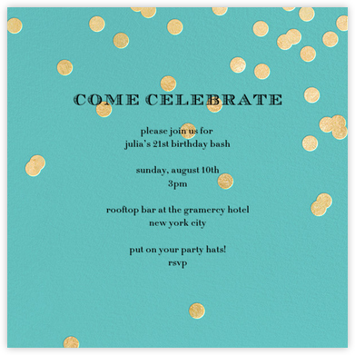 Come Celebrate - Aqua/Gold - kate spade new york - Adult birthday invitations