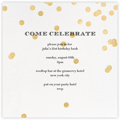 Come Celebrate - Ivory/Gold - kate spade new york - Adult Birthday Invitations