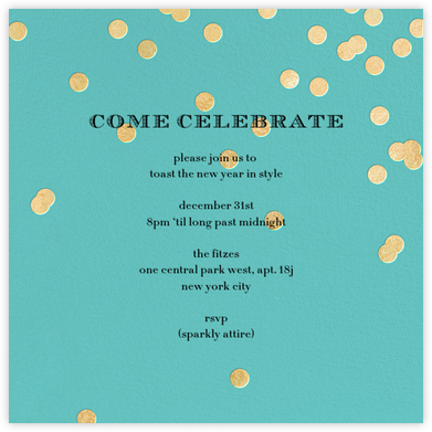 Come Celebrate - Aqua/Gold - kate spade new york - New Year's Eve Invitations