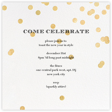 Come Celebrate - Ivory/Gold - kate spade new york - New Year's Eve Invitations