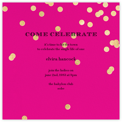 Come Celebrate - Bright Pink/Gold - kate spade new york - Bachelorette party invitations