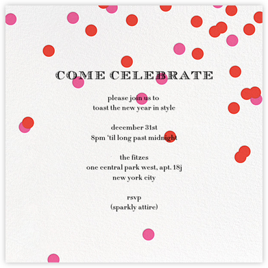 Come Celebrate - Ivory/Red - kate spade new york - New Year's Eve Invitations