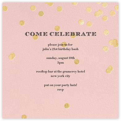 Come Celebrate - Rose/Gold - kate spade new york - Birthday invitations