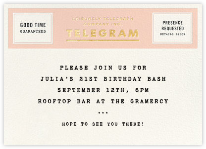 This Just In - Gold - kate spade new york - Adult birthday invitations