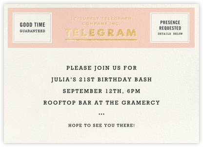 This Just In - Gold - kate spade new york - General Entertaining Invitations