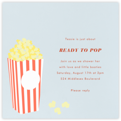 Bucket of Popcorn - Blue - Paperless Post - Baby Shower Invitations