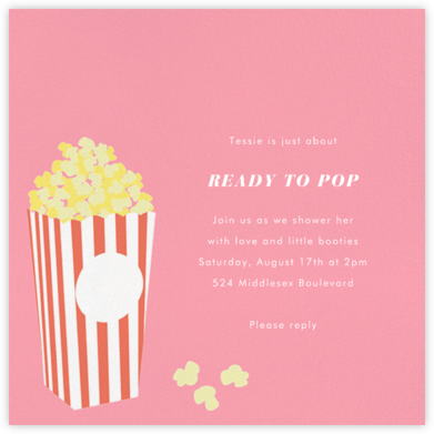 Bucket of Popcorn - Blossom - Paperless Post - Baby Shower Invitations