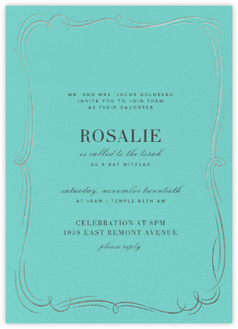 Plume (Tall) - Blue/Silver - Paperless Post - Bar and Bat Mitzvah Invitations