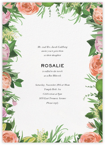 Gramercy Garden - Paperless Post - Bat and Bar Mitzvah Invitations
