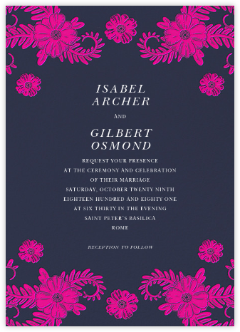 Festive Flora (Invitation) - Navy - Oscar de la Renta - Wedding Invitations