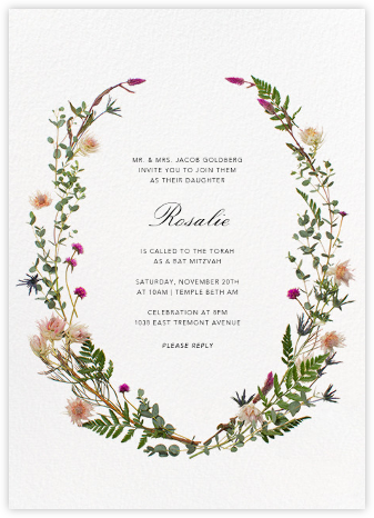 Fleurs Sauvages - Paperless Post - Bat and Bar Mitzvah Invitations