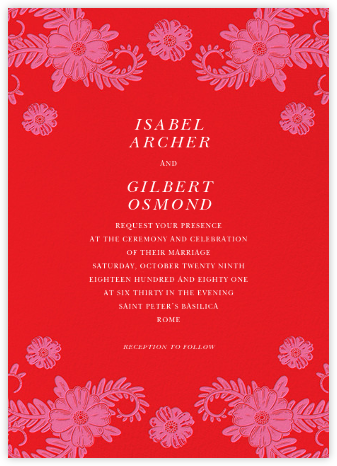 Festive Flora (Invitation) - Red - Oscar de la Renta - Wedding Invitations