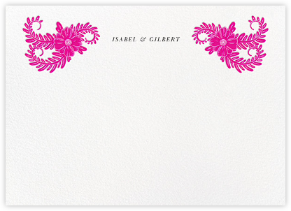 Festive Flora (Stationery) - Bright Pink - Oscar de la Renta - Personalized Stationery