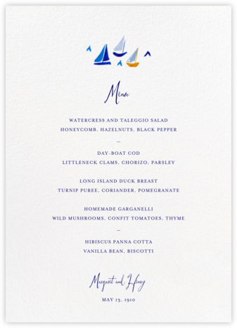 Mr. Digby (Menu)  - Mr. Boddington's Studio - Wedding menus and programs - available in paper