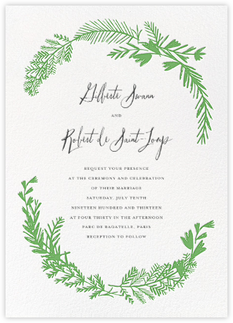 Miss Mimi Margeaux II (Invitation) - Green - Mr. Boddington's Studio - Wedding Invitations