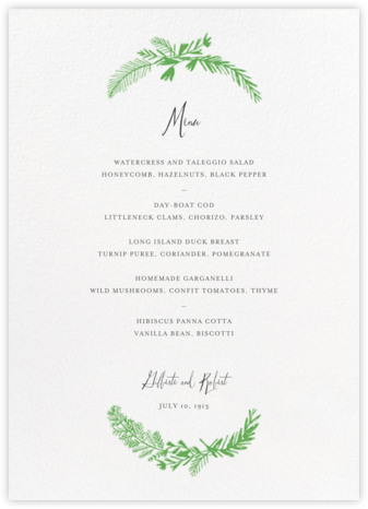 Miss Mimi Margeaux II (Menu) - Green - Mr. Boddington's Studio - Wedding menus and programs - available in paper
