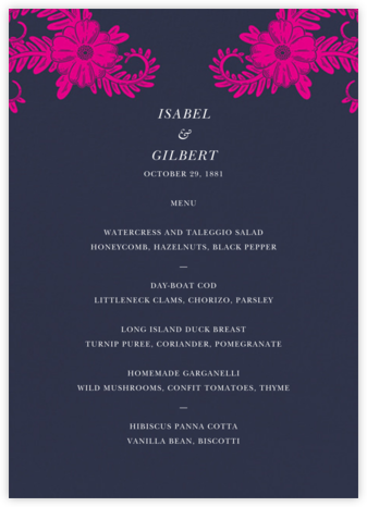 Festive Flora (Menu) - Navy - Oscar de la Renta - Wedding menus and programs - available in paper