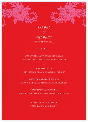 Festive Flora (Menu) - Red - Oscar de la Renta - Wedding menus and programs - available in paper