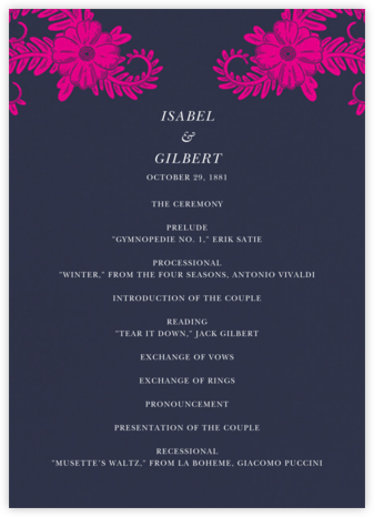 Festive Flora (Program) - Navy - Oscar de la Renta - Wedding menus and programs - available in paper
