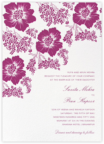 Falling Poppies II (Invitation) - Ivory/Raspberry - Oscar de la Renta - Wedding Invitations