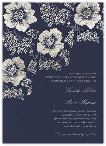 Falling Poppies II (Invitation) - Navy/Silver - Oscar de la Renta - Wedding Invitations