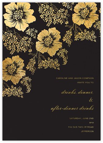 Falling Poppies II - Black/Gold - Oscar de la Renta - Fall Entertaining Invitations