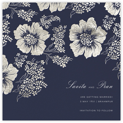 Falling Poppies II (Save the Date) - Navy/Silver - Oscar de la Renta -
