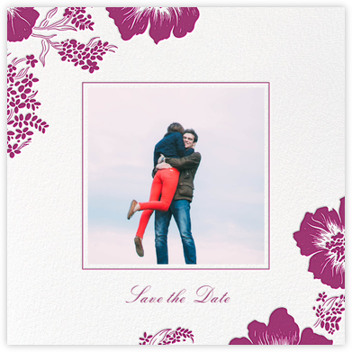 Falling Poppies II (Photo Save the Date) - Ivory/Raspberry - Oscar de la Renta - Photo save the dates