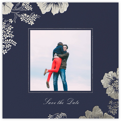 Falling Poppies II (Photo Save the Date) - Navy/Silver - Oscar de la Renta - Photo save the dates