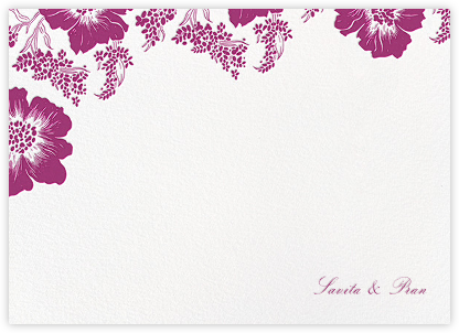 Falling Poppies II (Stationery) - White/Raspberry - Oscar de la Renta - Personalized stationery